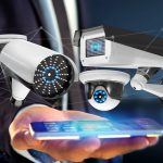View of a Businessman using a smartphone with a Security camera system and network connection - 3d rendering
